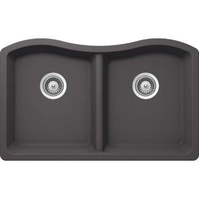 "Ash 32.5"" x 20"" Cristalite 50/50 Undermount Double Bowl Kitchen Sink Product Photo"