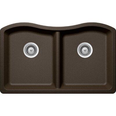 "Ash 32.5"" x 20"" Cristadur 50/50 Undermount Double Bowl Kitchen Sink Product Photo"