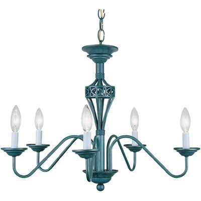 Lite Source 5 Light Chandelier LS 1058A RUST