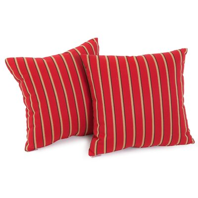 Hardwood Crimson Striped Sunbrella Throw Pillow by Home Loft Concepts