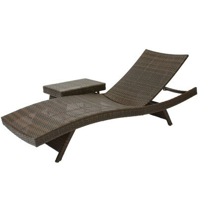 Home Loft Concepts Franklin 2 Piece Adjustable Lounge  and Wicker Table Set