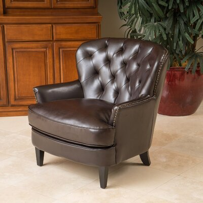 Waldorf Diamond Tufted Leather Club Chair by Home Loft Concepts