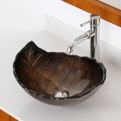 Hot Melted and Hand Painted Autumn Leaf Shaped Bowl Vessel Bathroom Sink Product Photo