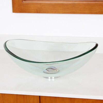 Mini Tempered Glass Boat Shaped Oval Bowl Bottom Vessel Bathroom Sink Product Photo