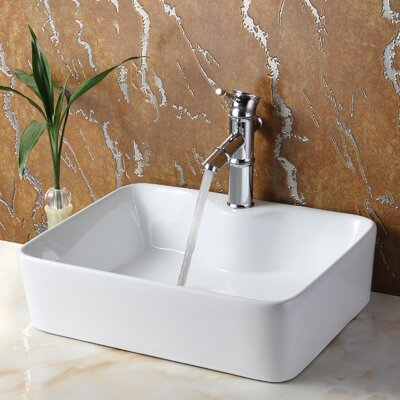 Ceramic Rectangular Bathroom Sink Product Photo