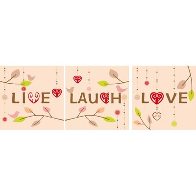 3 Piece Live, Love and Laugh Gallery Wrapped Canvas Art Set by Green Frog