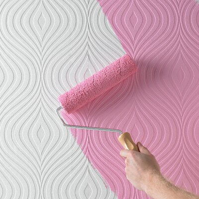 "Graham & Brown Paintable Curvy 32.8' x 20.5"" Geometric Embossed Wallpaper"