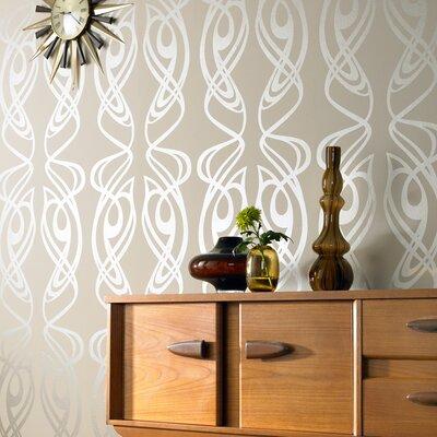 "Graham & Brown Diva Oyster 33' x 20.5"" Geometric Foiled Wallpaper"