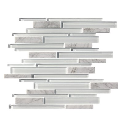 Marbella Random Sized Glass Mosaic Tile in White by Mulia Tile