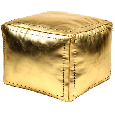 Moroccan Leather Square Pouf Ottoman by Casablanca Market