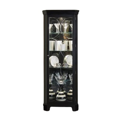 Oxford Black Corner Curio Cabinet by Pulaski