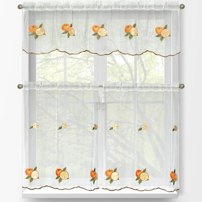 Oranges 3 Piece Embroidered Kitchen Tier and Valance Set Product Photo
