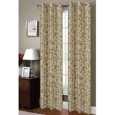 Meadow Flocked Faux Silk Grommet Curtain Panels (Set of 2) Product Photo