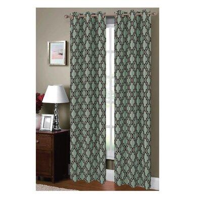 Lattice Flocked Faux Silk Grommet Curtain Panels (Set of 2) Product Photo
