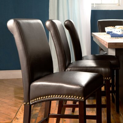 Three Posts Mather 24 Quot Faux Leather Bar Stool With Cushion