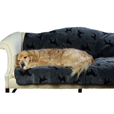 Plush Embossed Dog Throw Blanket in Charcoal by Zoey Tails
