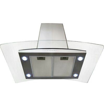 "36"" 870 CFM Convertible Island Range Hood in Silver Product Photo"