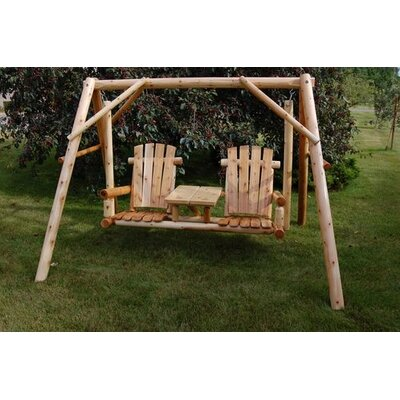 Moon Valley Rustic Tete-a-Tete Porch Swing with Stand