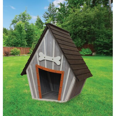 Innovation Pet Houses and Paws Whimsical Dog House Dog home made of solid wood with a whimsical flare, perfect for outdoor use.