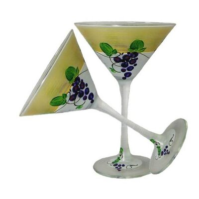 Grapes 'n Vines Martini Glass by Golden Hill Studio