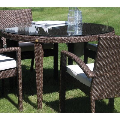 Soho Patio Woven Round Dining Table with Umbrella Hole by Hospitality Rattan