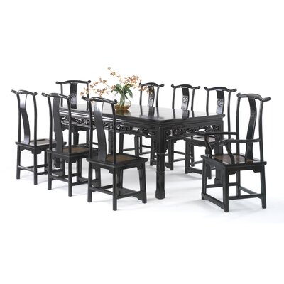 Shimu Chinese Classical Extendable Dining Table and 8 Chairs