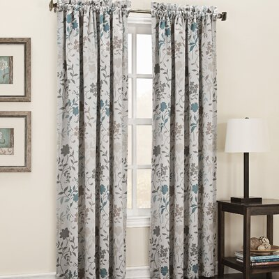 Auburn Room Darkening Floral Print Single Curtain Panel Product Photo