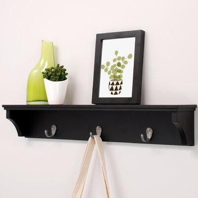 Finley Wall Shelf with 3 Metal Hooks by nexxt Design