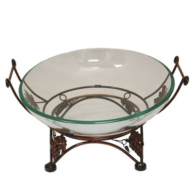 Urban Glass Decorative Bowl with Grape Leaf Metal Stand by EC World Imports