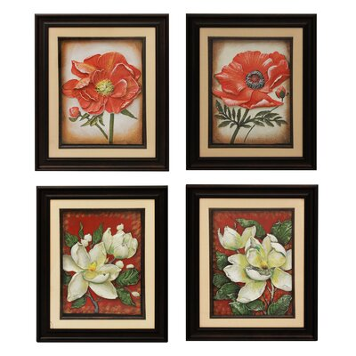 Urban Designs Poppy and Magnolia 4 Piece Framed Graphic Art Set by EC World Imports ...