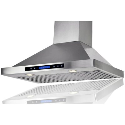 "35.4"" Convertible Wall Mount Range Hood in Stainless Steel Product Photo"