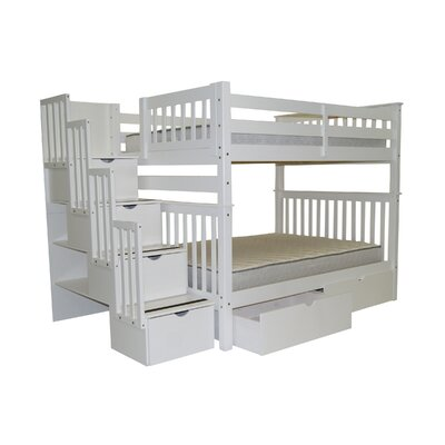 Bedz King Full Over Full Bunk Bed with Twin Trundle