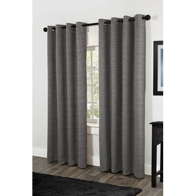 Raw Silk Thermal Grommet Top Window Curtain Panels (Set of 2) Product Photo