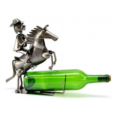 Cowboy on Horse 1 Bottle Tabletop Wine Rack by Three Star