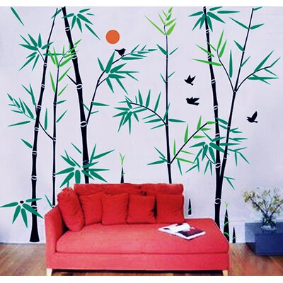 Bamboo Forest with Flying Birds Wall Decal by Pop Decors
