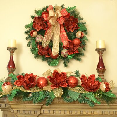 Magnolia Christmas Wreath and Holiday Swag Set - Glittered Fruits Handcrafted Bows Made In USA