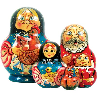 G Debrekht Russia 5 Piece Golden Egg Nested Doll Set