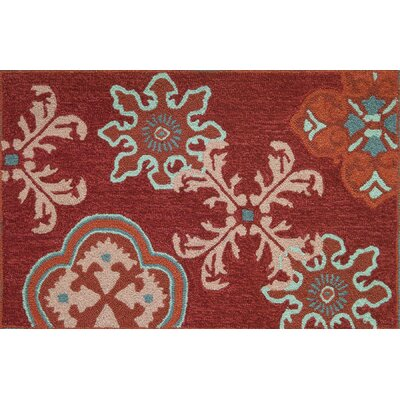 Crimson Stamps Rug by Homefires