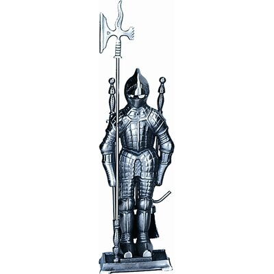 Uniflame Corporation Mini Triple Pleated Soldier Pewter Fire Tool Set With Stand