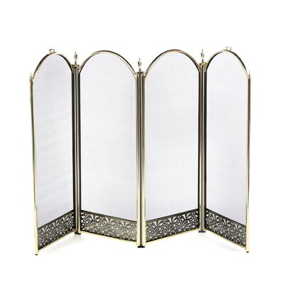 Uniflame Corporation 4 Panel Brass Fireplace Screen with Decorative Filigree