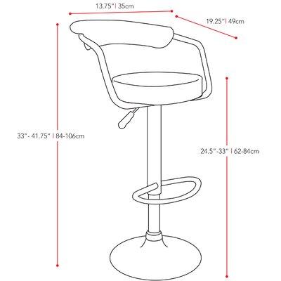 dCOR design Adjustable Height Swivel Bar Stool with Cushion