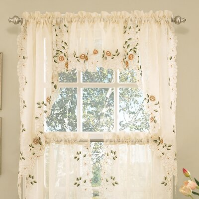Old World Style Floral Embroidered Semi-Sheer Swag Curtain Valance (Set of 2) Product Photo