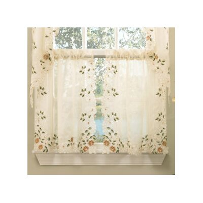 Old World Style Floral Embroidered Semi-Sheer Tier Curtain (Set of 2) Product Photo