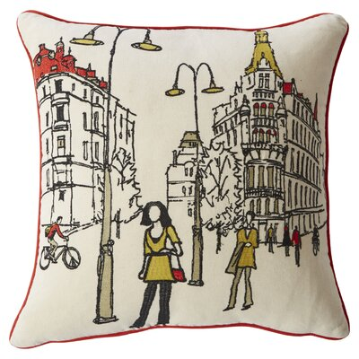 Embroidered Paris Street Throw Pillow by Mercury Row