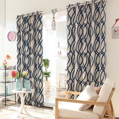 Wave Room Grommet Top Darkening Curtain Panels (Set of 2) Product Photo