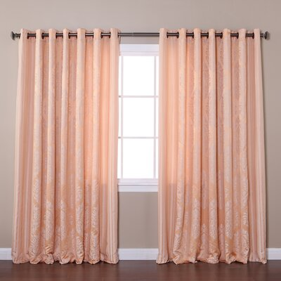 Wide Width Damask Jacquard Grommet Curtain Panels (Set of 2) Product Photo