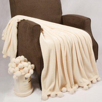 Flannel Fleece Pom Pom Throw Blanket by BNF Home
