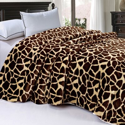 Safari Animal Nature Faux Fur and Sherpa Throw Blanket by BNF Home