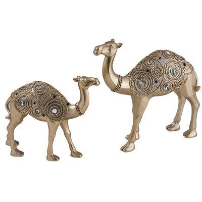 2 Piece Golden Swirl Camel Decorative Statue by Sintechno Inc