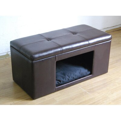 Brown Leather Upholstered Ottoman Pet Bed House with Flip Top Tufted Cushion